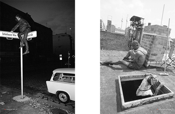 Links: Schönhauser Allee, 1991 (Philipp von Recklinghausen / bobsairport, © Gestalten 2014), rechts: Dach Auguststraße 4, 1992 (Rolf Zöllner / bobsairport, © Gestalten 2014)