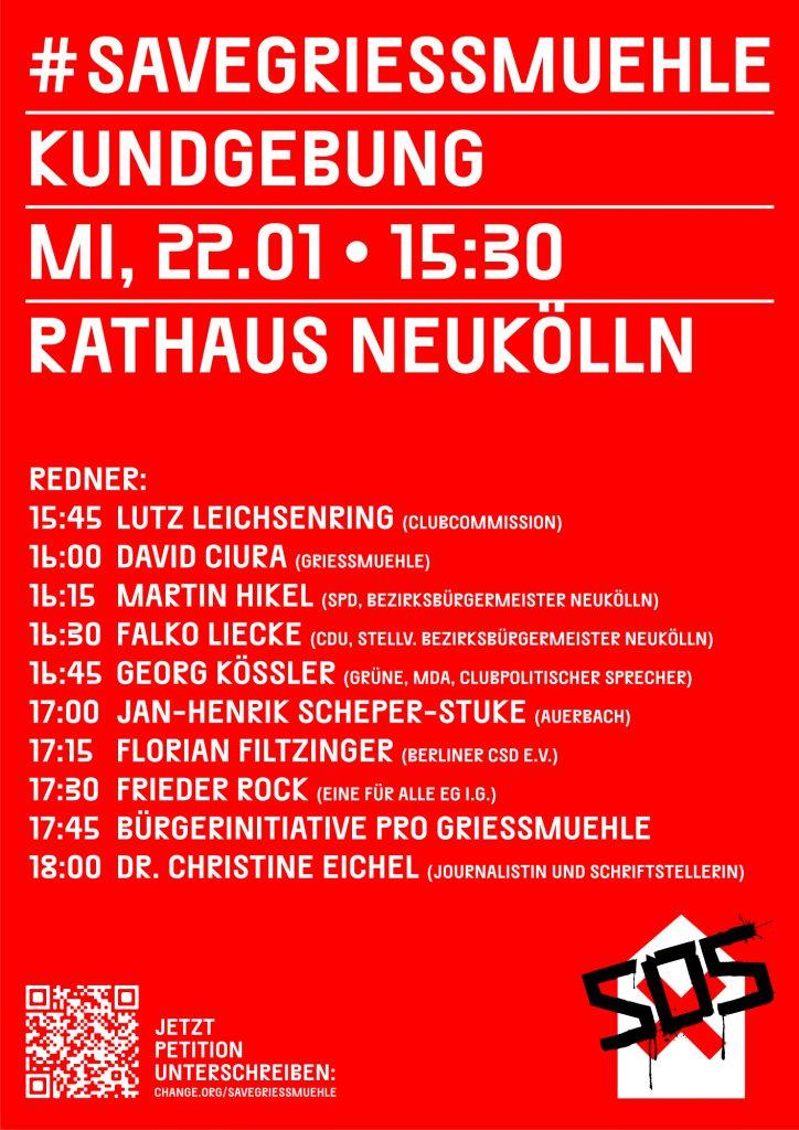 Griessmuehle: Berliner Abgeordnetenhaus spricht sich für Erhalt des Clubs aus